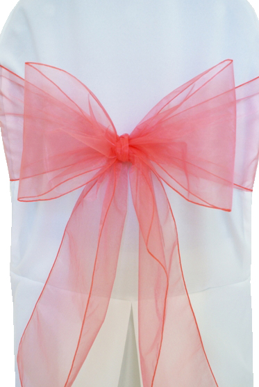coral organza chair sash 3